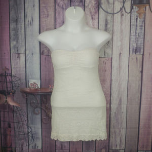 off white lace lined strapless dress Large D23